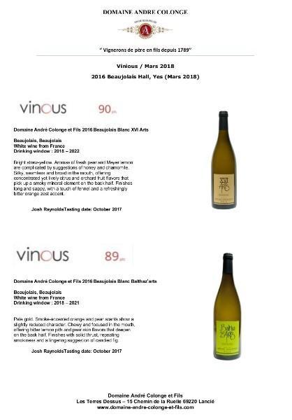 De nouvelles notes obtenues sur le site Vinious